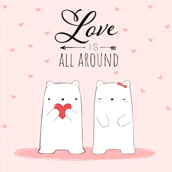 Ładny rysunek para kochanek niedźwiedź polarny z cytatem love is all around