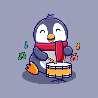 Ładny rysunek pingwina grający na perkusji