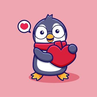 Ładny rysunek pingwina z miłością