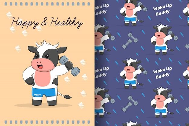 Ładny siłownia chłopiec krowa wzór i karta