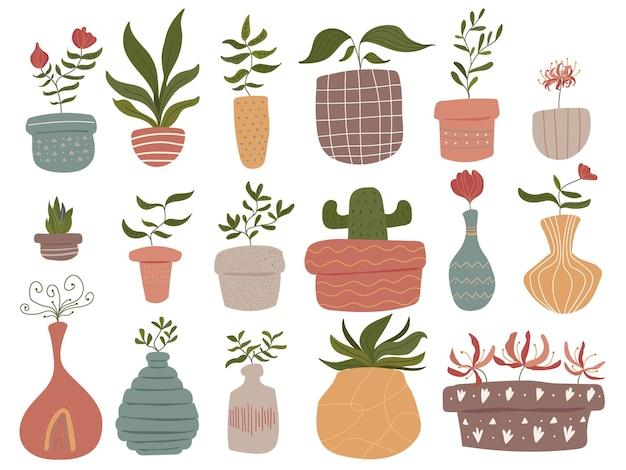 Ładny skandynawski styl botaniczny ton ziemi ręcznie rysowane ilustracja