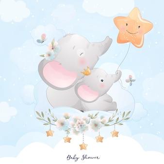 Ładny słoń doodle z gwiazdą ilustracji