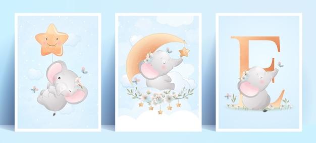 Ładny słoń doodle z ilustracja kwiatowy zestaw