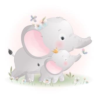 Ładny słoń doodle z kwiatową ilustracją