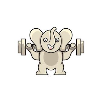 Ładny słoń ilustracja podnoszenie ciężarów w stylu kreskówki