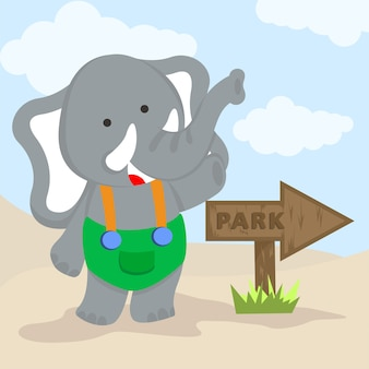 Ładny słoń wskazujący kierunek do parku