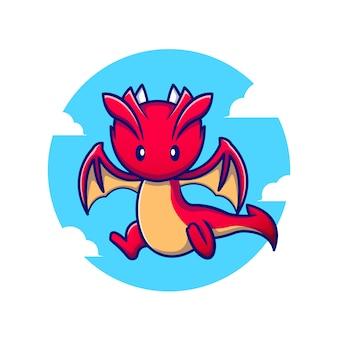 Ładny smok latający ikona ilustracja kreskówka. animal fantasy icon concept premium. styl kreskówki