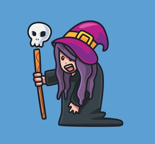 Ładny stary czarownica czarodziej. ilustracja kreskówka na białym tle halloween. płaski styl nadaje się do naklejki icon design premium logo vector. postać maskotki