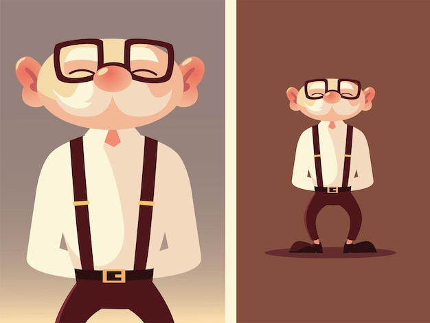 Ładny stary człowiek starszy kreskówka z okularami i szelkami