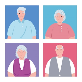 Ładny starzy ludzie, grupa babci i dziadków ilustracja projekt