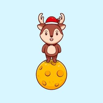 Ładny stojak na księżycu christmas renifer w masce kreskówka ikona ilustracja.