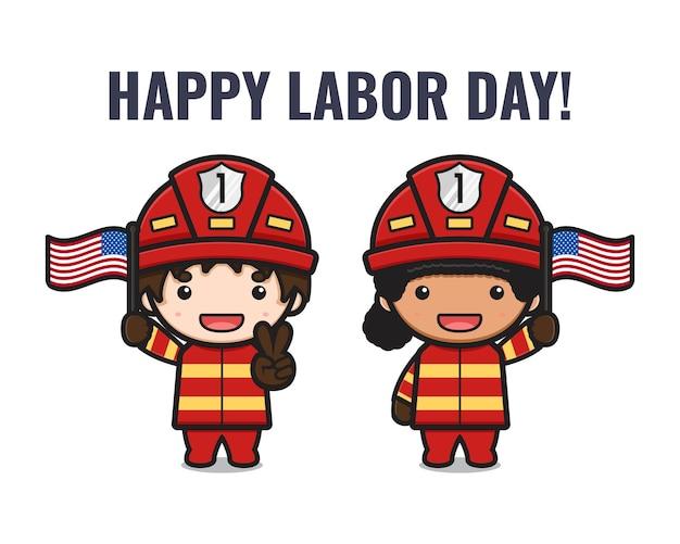 Ładny strażak świętować ilustracja kreskówka święto pracy. zaprojektuj na białym tle płaski styl kreskówki
