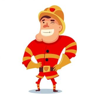 Ładny strażak w postać z kreskówki kask. strażak w tradycyjnym mundurze. wektor ilustracja ludzie na białym tle