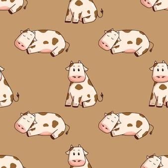 Ładny styl doodle krowy w jednolity wzór