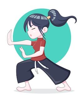 Ładny styl dziewczyna trenuje ilustracja kreskówka kung fu