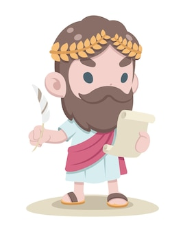 Ładny styl grecki uczony czytanie dokumentu z piórem w drugiej kreskówce