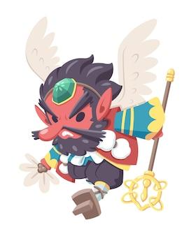 Ładny styl ilustracja kreskówka japoński potwór tengu