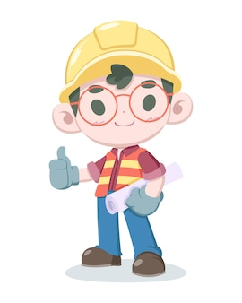 Ładny styl ilustracja kreskówka pracownik budowy