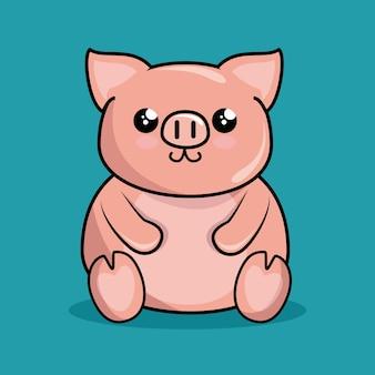 Ładny styl kawaii charakter piggy