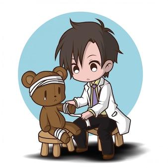 Ładny styl kreskówek lekarz