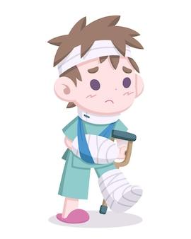 Ładny styl ranny mężczyzna z ilustracją kreskówki bandaży głowy i kończyn