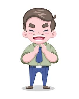Ładny styl zielona koszula japoński salaryman klaszcząc wesoło ilustracja kreskówka