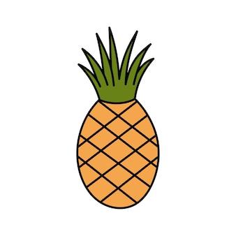 Ładny stylizowany ananas w stylu doodle owoce tropikalne prosta ilustracja na białym tle