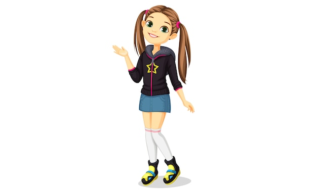 Ładny stylowy dziewczynę stojącą