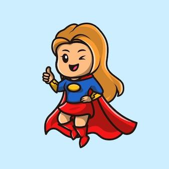 Ładny superbohater dziewczyna ikona ilustracja kreskówka.