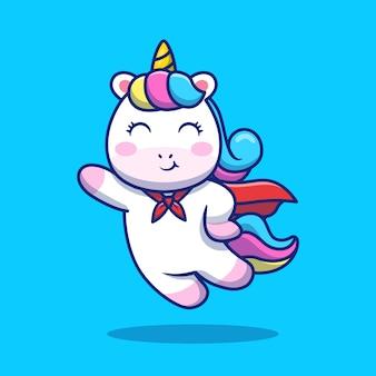 Ładny superbohater jednorożec latający kreskówka ikona ilustracja. koncepcja ikona zwierząt na białym tle premium. płaski styl kreskówki