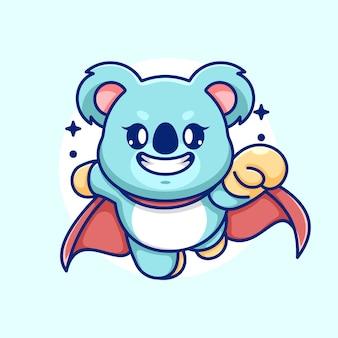 Ładny superbohater koala latający kreskówka