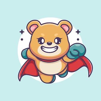 Ładny superbohater niedźwiedź kreskówka latający