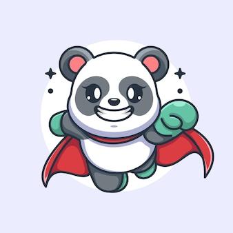 Ładny superbohater panda latający kreskówka