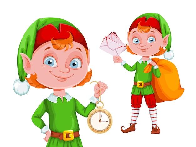 Ładny świąteczny elf postać z kreskówki, zestaw dwóch pozach