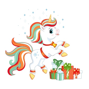 Ładny świąteczny jednorożec z prezentami i płatkami śniegu. postać z kreskówki jednorożca. ilustracja wektorowa na białym tle.