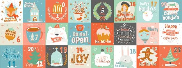 Ładny świąteczny kalendarz adwentowy z symbolami i zwierzętami