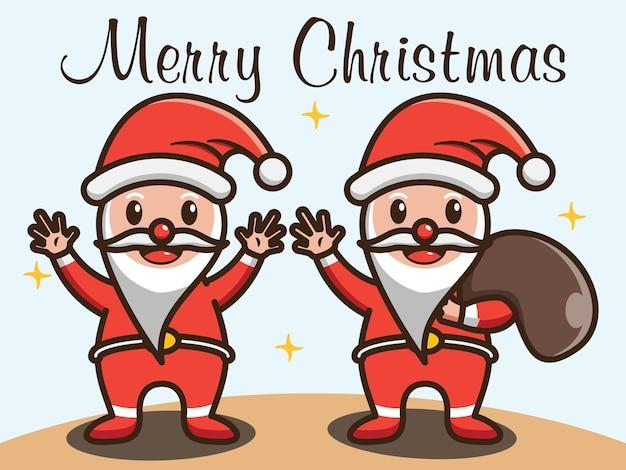 Ładny święty mikołaj pozdrowienia wesołych świąt ilustracja wektorowa projektu