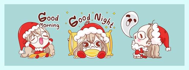 Ładny święty mikołaj śpiący i przed snem na białym tle na tle wesołych świąt z projektowaniem postaci.