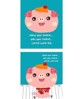ładny świnia doodle z zestawem apple