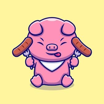 Ładny świnia kucharz jedzenie kiełbasa postać z kreskówki. karma dla zwierząt na białym tle.