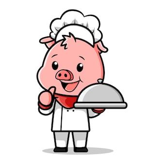 Ładny świnia kucharz wektor wzór