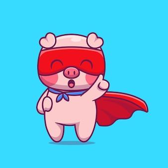 Ładny świnia superbohater kreskówka ikona ilustracja. koncepcja ikona bohatera zwierząt na białym tle. płaski styl kreskówki