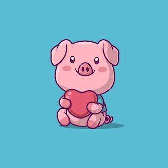 Ładny świnia trzyma ikona miłości na niebieskim tle