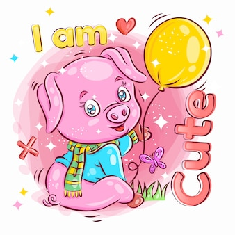 Ładny świnia trzymać i grać balon. kolorowa ilustracja kreskówka.