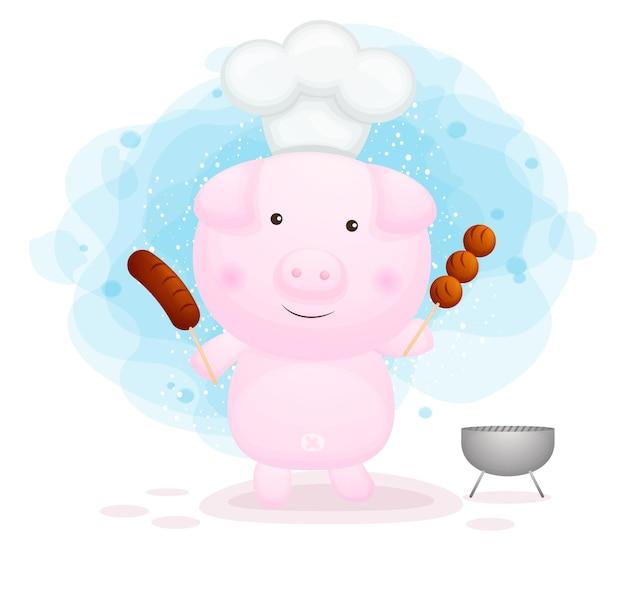 Ładny świnka kucharz trzyma kiełbasę z grilla i klopsik z grilla.