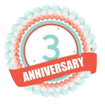 Ładny szablon 3 rocznica z balonami i wstążką vecto