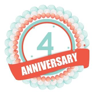 Ładny szablon 4 lata rocznicy z balonów i wstążki vecto
