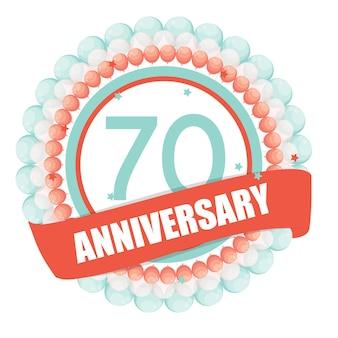 Ładny szablon 70 lat rocznicy z balonami i wstążką vect