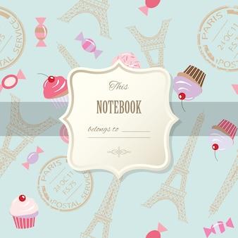 Ładny szablon dziewczęcej konstrukcji notatnik