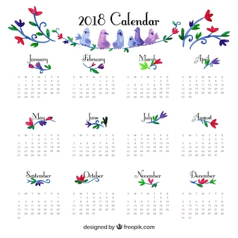 Ładny szablon kalendarza 2018 rocznika